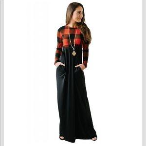 Dresses & Skirts - Black Buffalo Print Top Long Maxi Dress